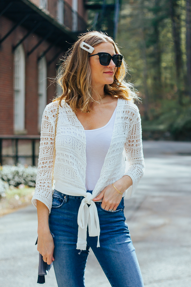 Eyelet wrap sweater