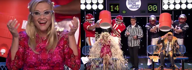 Reese Witherspoon and Jimmy Fallon play 'Cooler Head' pouring random stuffs in head like cheese, balls, popcorns