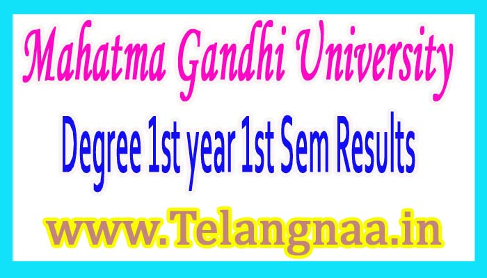 MG University Degree 1st year 1st Sem Results 2017