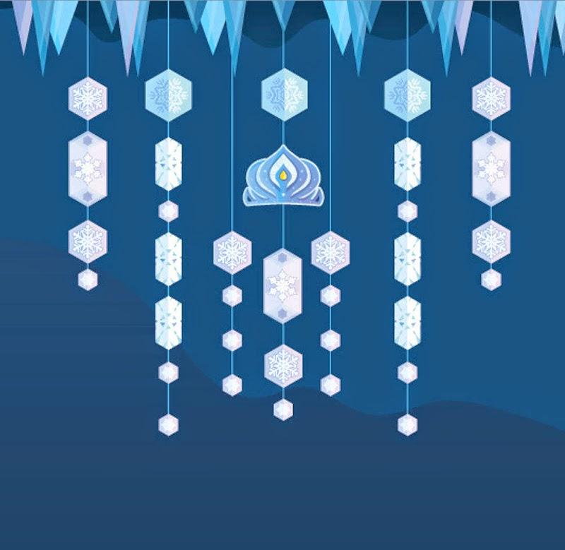 Cortina de Frozen Copos de Nieve para Imprimir Gratis