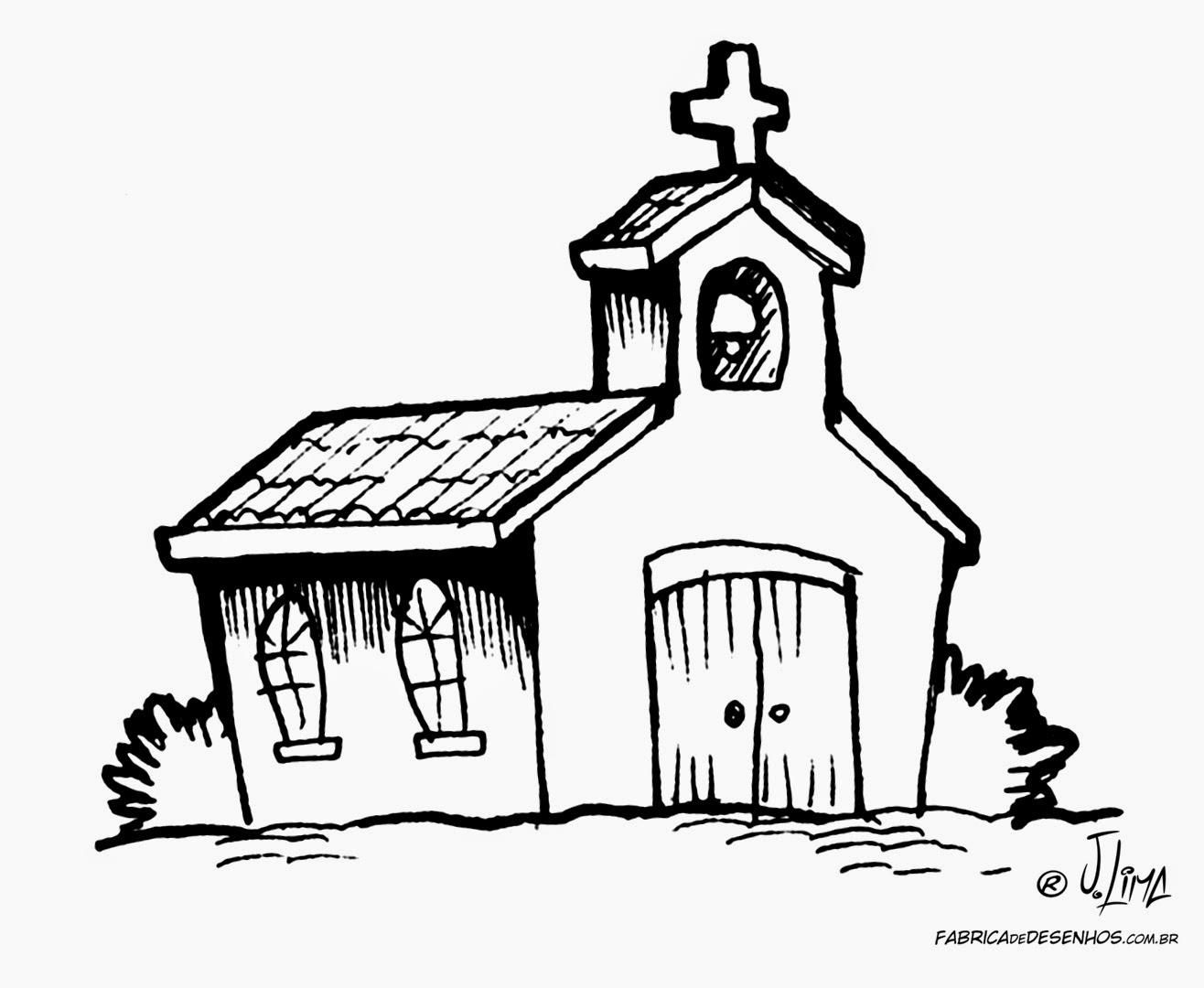 Desenhos Para Pintar Desenho De Igreja Para Colorir