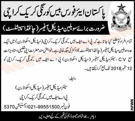 Pakistan Air Force Base Karachi Required Medical Officer