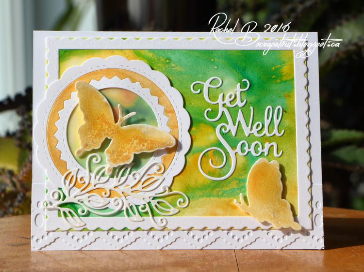 Scrapatout - Handmade card, Get Well Soon, Butterflies, Yupo, IZINK