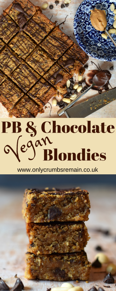How to make vegan blondies traybake recipe with chickpeas flavoured with peanut butter and dark chocolate