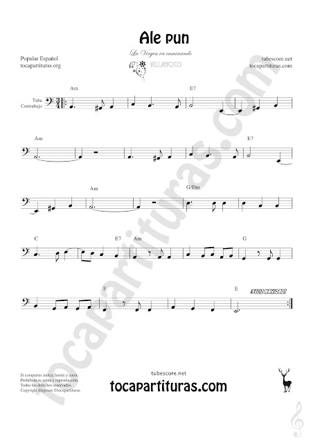Partitura de Ale Pun Tuba y Contrabajo (Clave de Fa en 8ª Baja) Sheet Music for Contrabass & Tuba Music Score