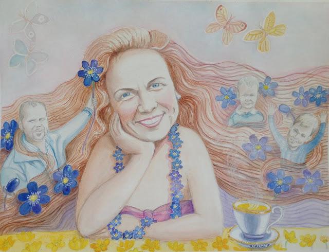 Aide Leit-Lepmets sinilillleaeg akvarell vesivärv illustratsioon sinilill