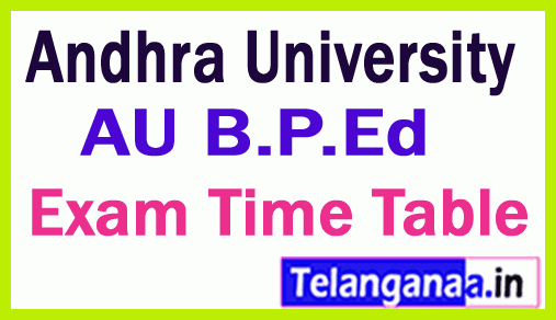 Andhra University B P Ed  Exam Time Table