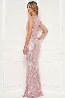 Rochie LaDonna roz deschis de lux lunga tip sirena cu paiete fara maneci aplicatii cu dantela si paiete