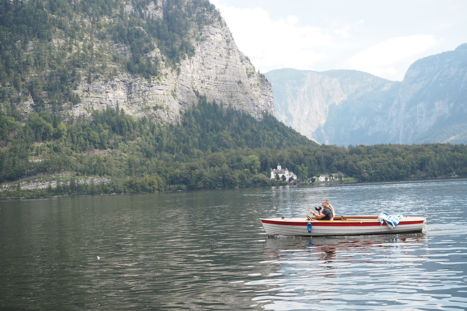 Taking a boat ride in Hallstatt