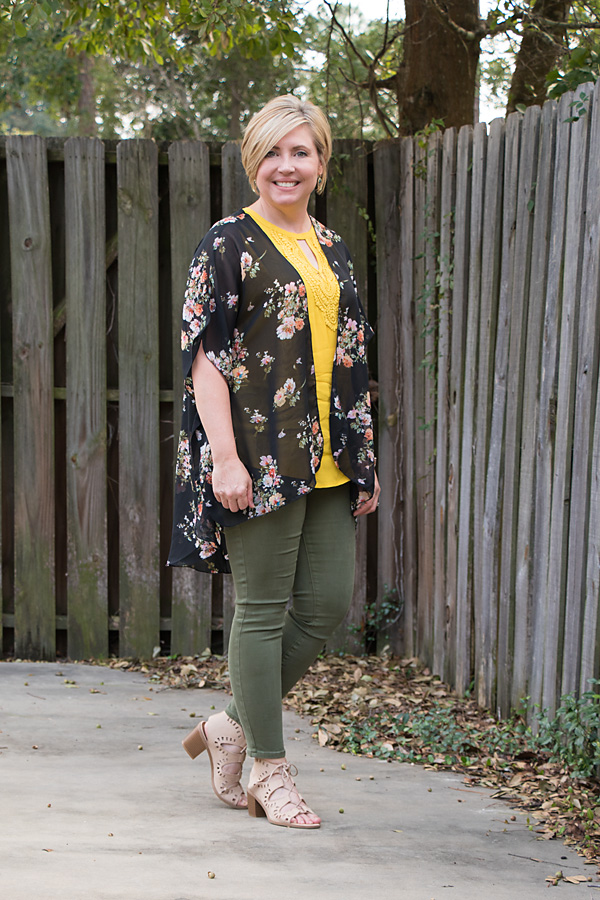 fall outfit, olive jeans outfit, mustard top outfit, womens fall fashion