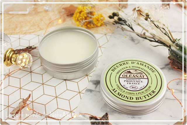 Beurre d'amande bio d'Oléanat pour peaux sèches pour visage et corps Made in France