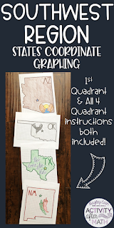 Southwest Region States Coordinate Graphing Mystery Pictures BUNDLE
