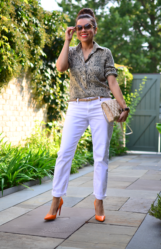Outfit with boyfriend white jeans
