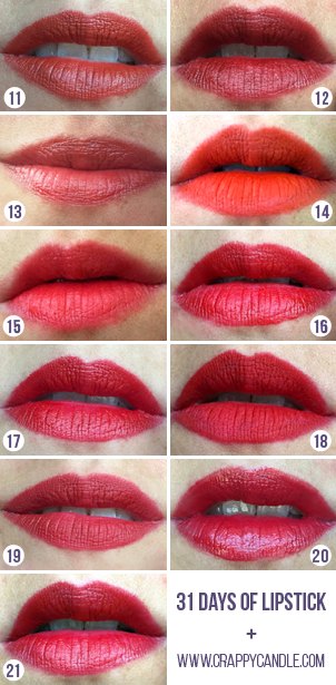 Orange, Red, & Pink Lipstick Swatches | 31 Days of Lipstick (Crappy Candle)