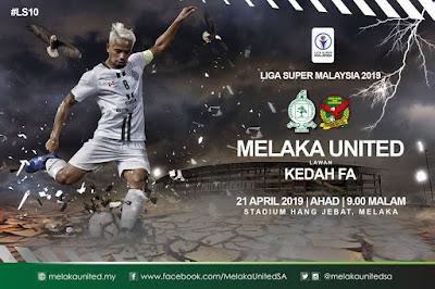 Live Streaming Melaka United vs Kedah FA Liga Super 2019