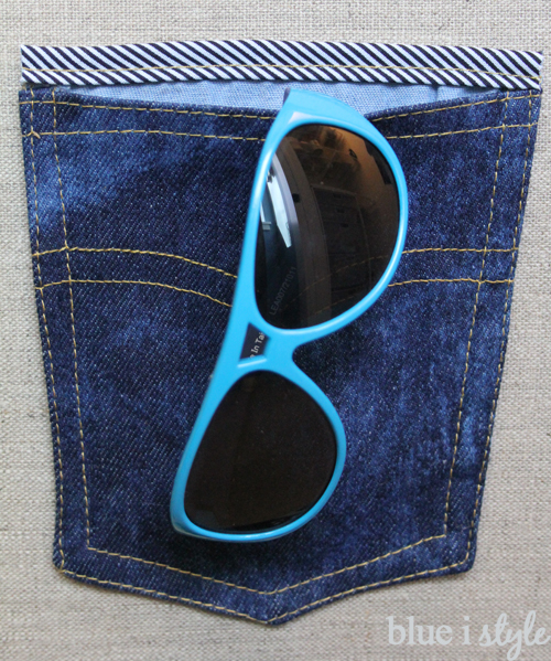 Denim pocket organization for boys' sunglasses