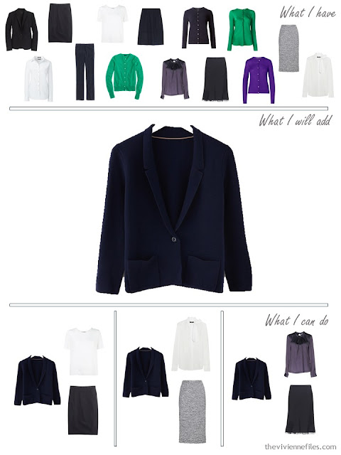 How to add a navy knit jacket to a business capsule wardrobe