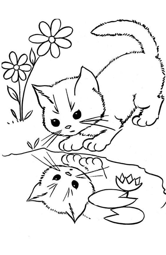Tranh tô màu con mèo soi bóng nước