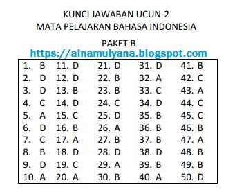 SOAL DAN JAWABAN UCUN 2 BAHASA INDONESIA SMP TAHUN 2018 – 2019 (PAKET B)