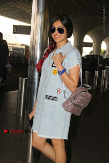 Adah Sharma Spotted at the Airport in a Denim Dress
