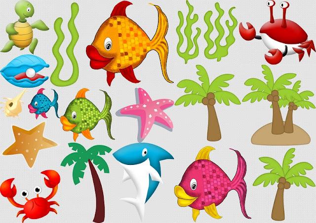 Animales y Plantas del Clipart Disfrutando en la Piscina.