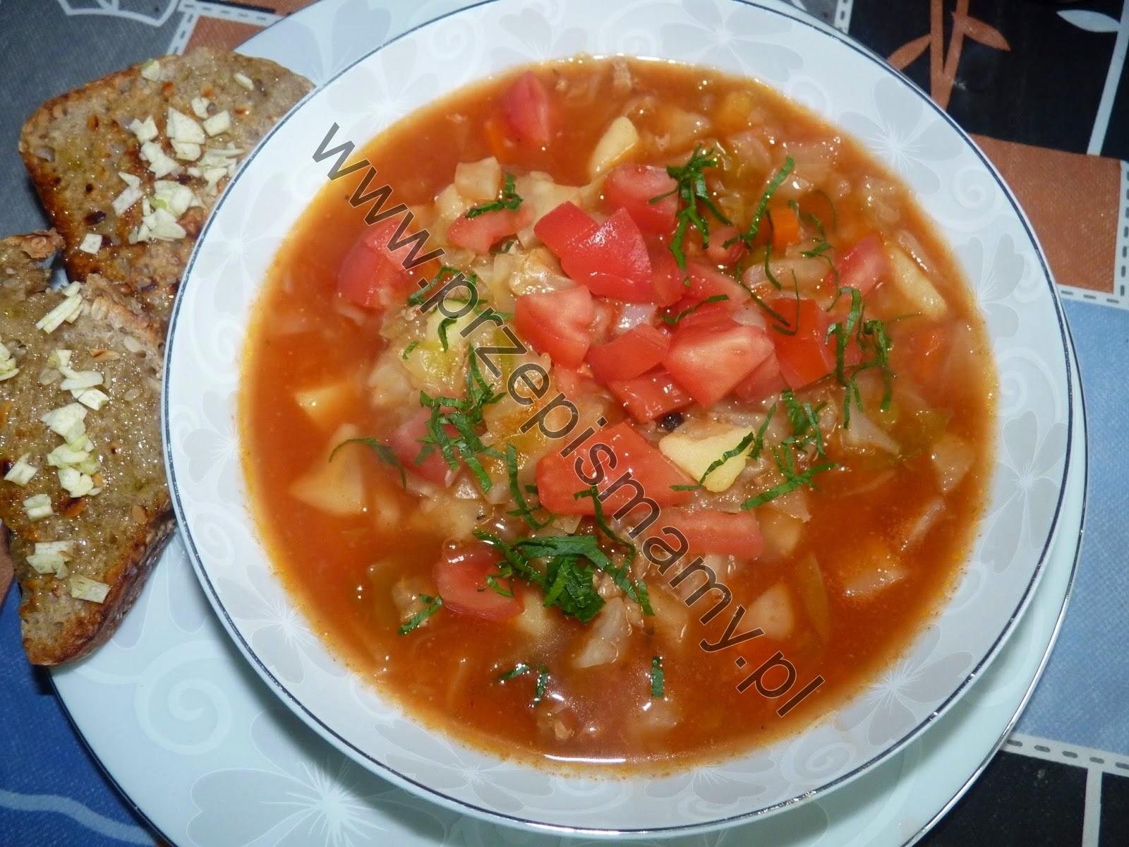 Kapuśniak z młodej kapusty z pomidorami