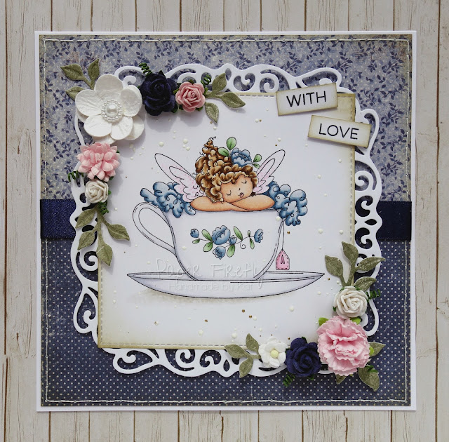 Blue floral vintage style card using Edna's cup of tea by Stamping Bella
