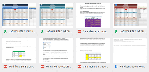 Aplikasi Jadwal Pelajaran SD SMP SMA dengan Microsoft Excel