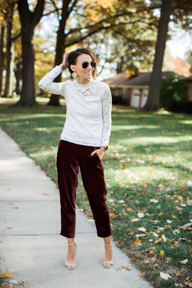 Kilee Nickels Style - Velvet Pants and a Lace Top