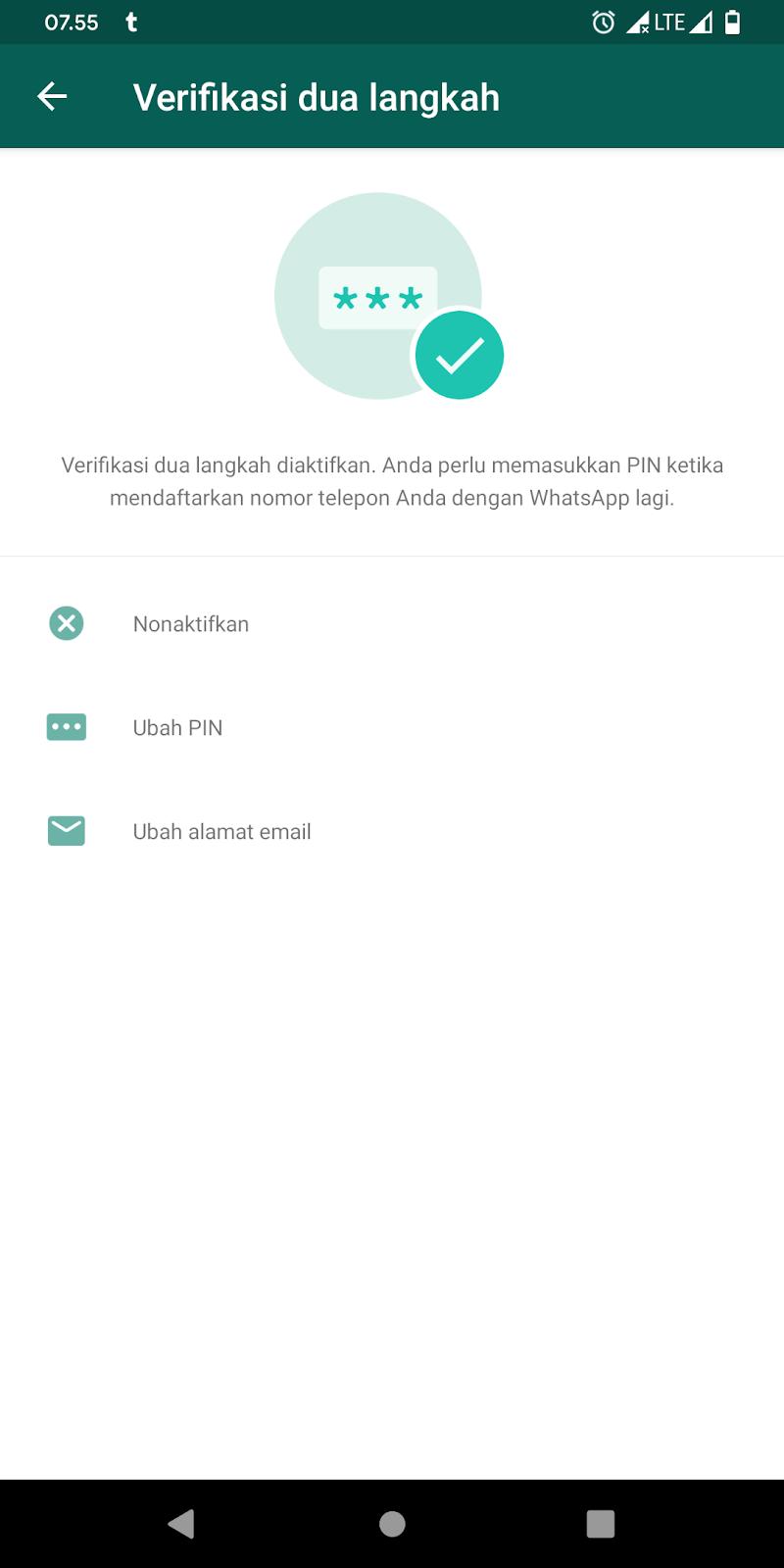 Cara Mengaktifkan Verifikasi Dua Langkah Akun WhatsApp