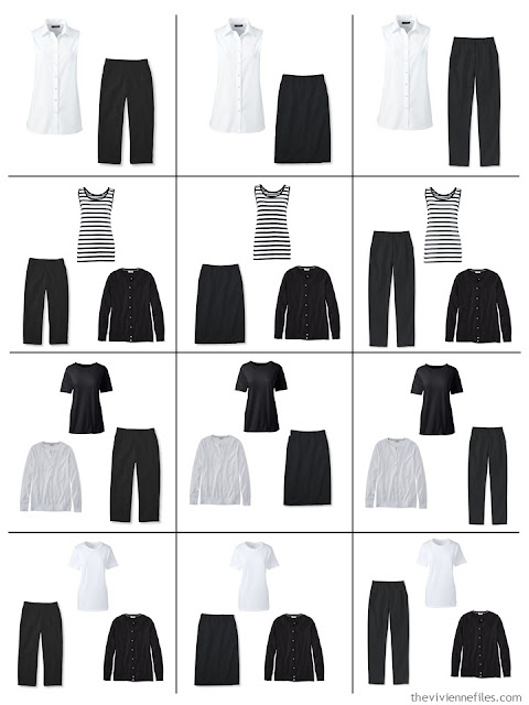 12 outfits composed from 9 wardrobe Neutral Building Blocks in black and white