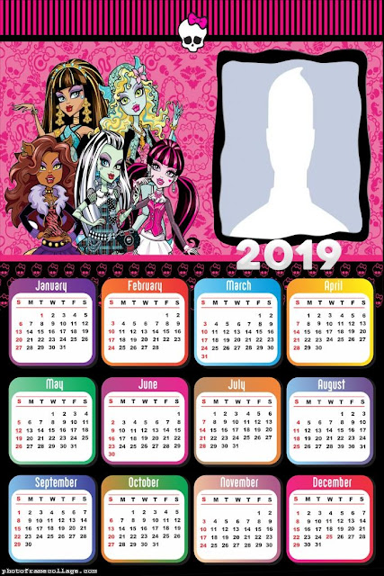 Calendario 2019 de Monster High para Imprimir Gratis.
