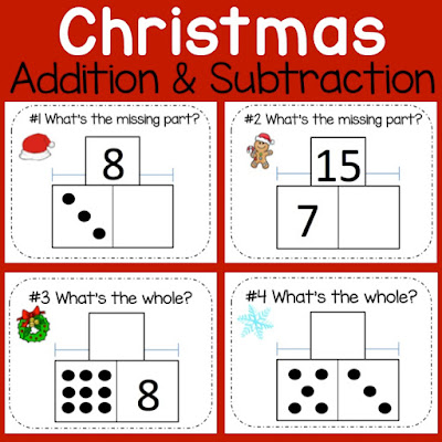 Christmas math center for Kindergarten and 1st grade