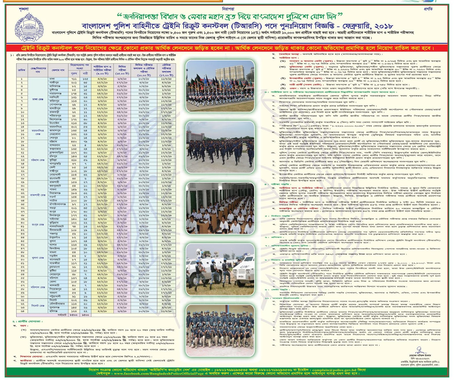 Bangladesh Police Trainee Constable (TRC) Re-Recruitment Circular 2017