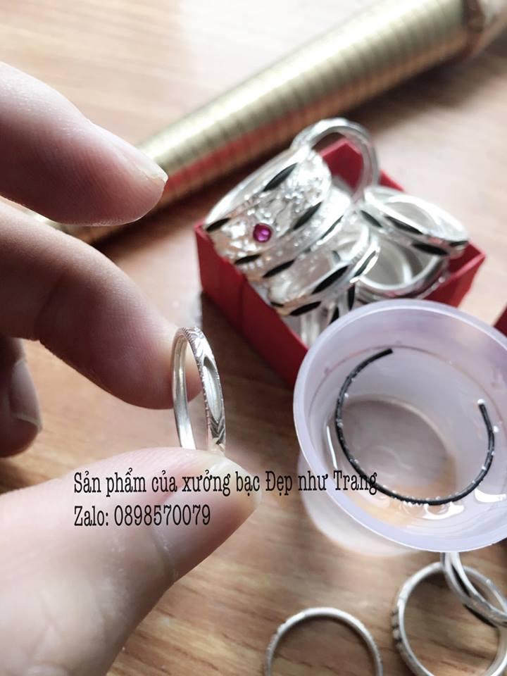 Sản phẩm nhẫn bạc thô làm bằng bạc ta mềm dẻo chưa xỏ lông voi