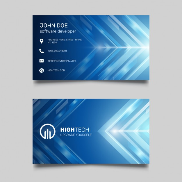 Blue Business Card with Bright Lines