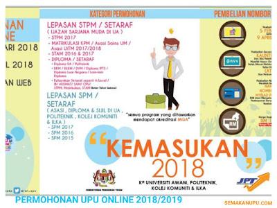Permohonan UPU Ke UA IPTA/Politeknik/ILKA Sesi 2018/2019 Online