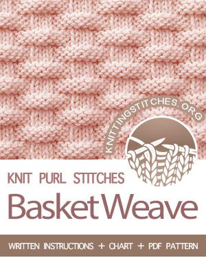 KNIT and PURL Stitches -- #howtoknit the Basketweave stitch. FREE written instructions, Chart, PDF knitting pattern.  #knittingstitches #knitpurl