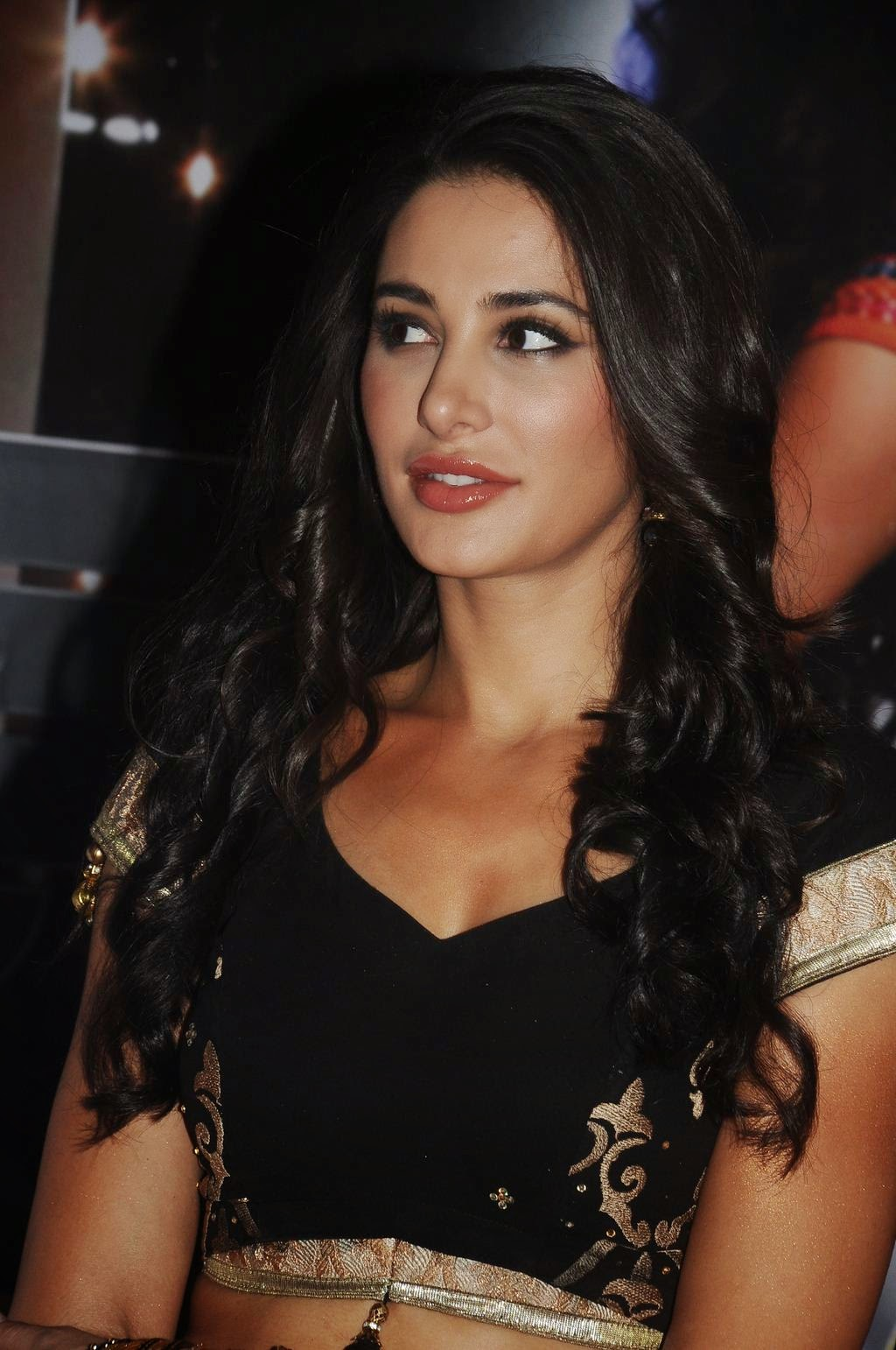 Nargis Fakhri Hot Navel Show Photos In Black Dress