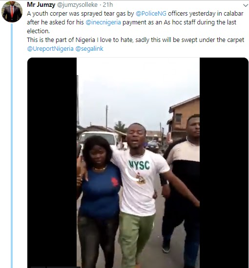 Corps member allegedly sprayed with tear gas for asking INEC for his wages - Video