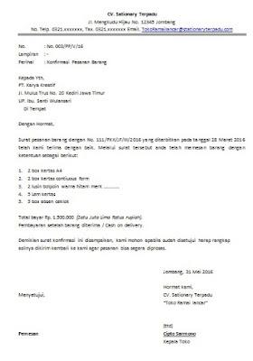Contoh Surat Konfirmasi Pesanan Barang