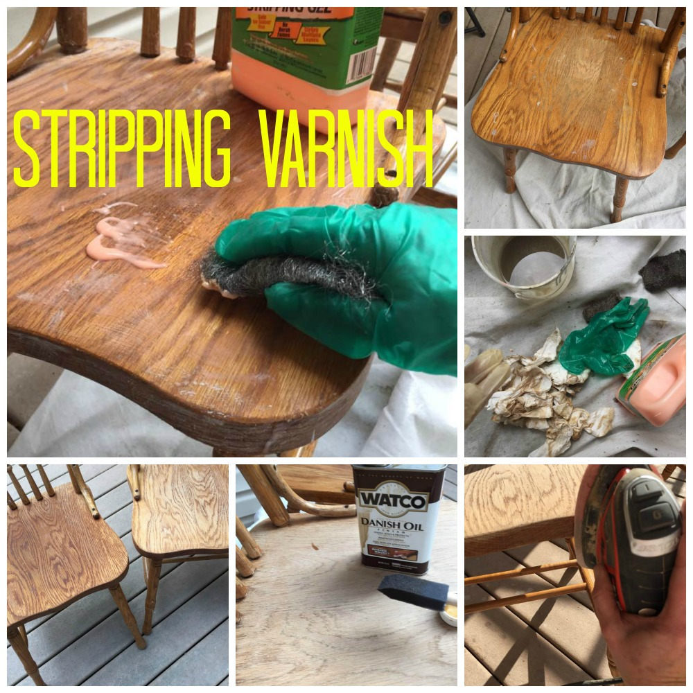 Stripping varnish and refinishing chair seat.