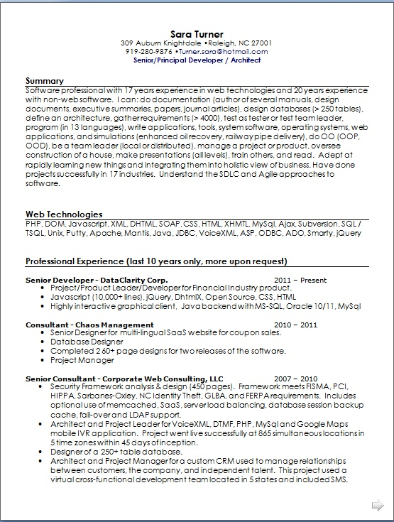 project manager curriculum vitae summary in word format
