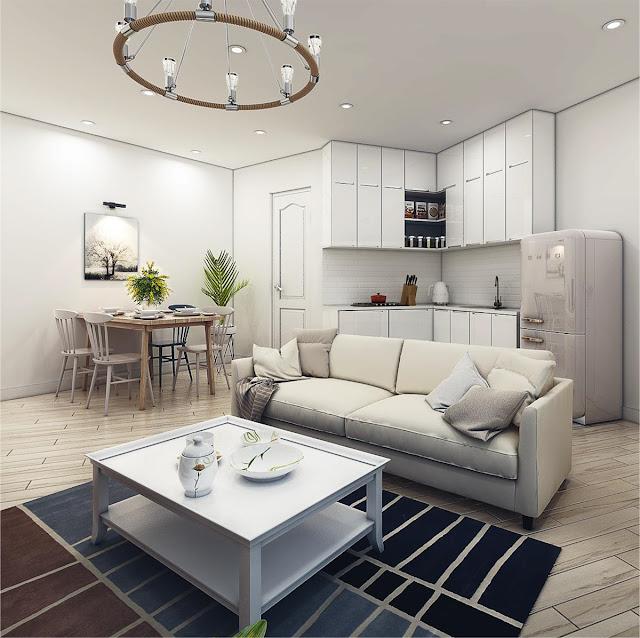Phòng khách tại căn hộ Samsora Premier 105
