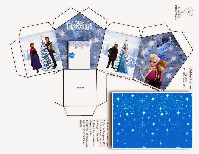 Frozen: caja con forma de casa para imprimir gratis.