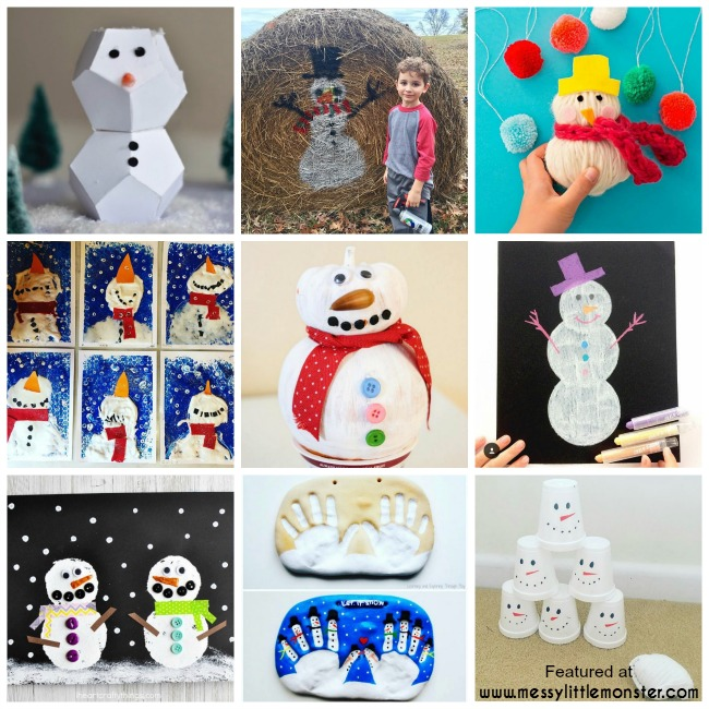 Snowman art and craft ideas for kids. Winter themed topic activities.