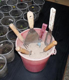 Огородный инструмент удобно хранить в ведерке с песочком