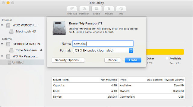 Format a volume for Mac in macOS Sierra using Disk Utility