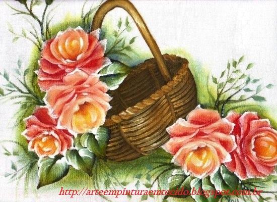 Pintura em tecido cesta rosas