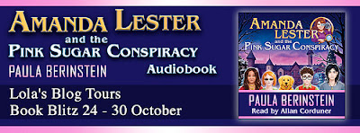 banner audiobook for Amanda Lester and the Pink Sugar Conspiracy